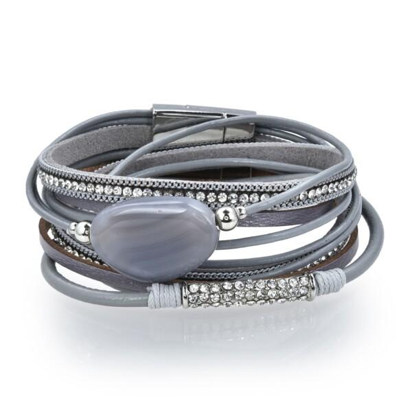 Closeup photo of Gray Agate Coin Multi Wrap Bracelet Double