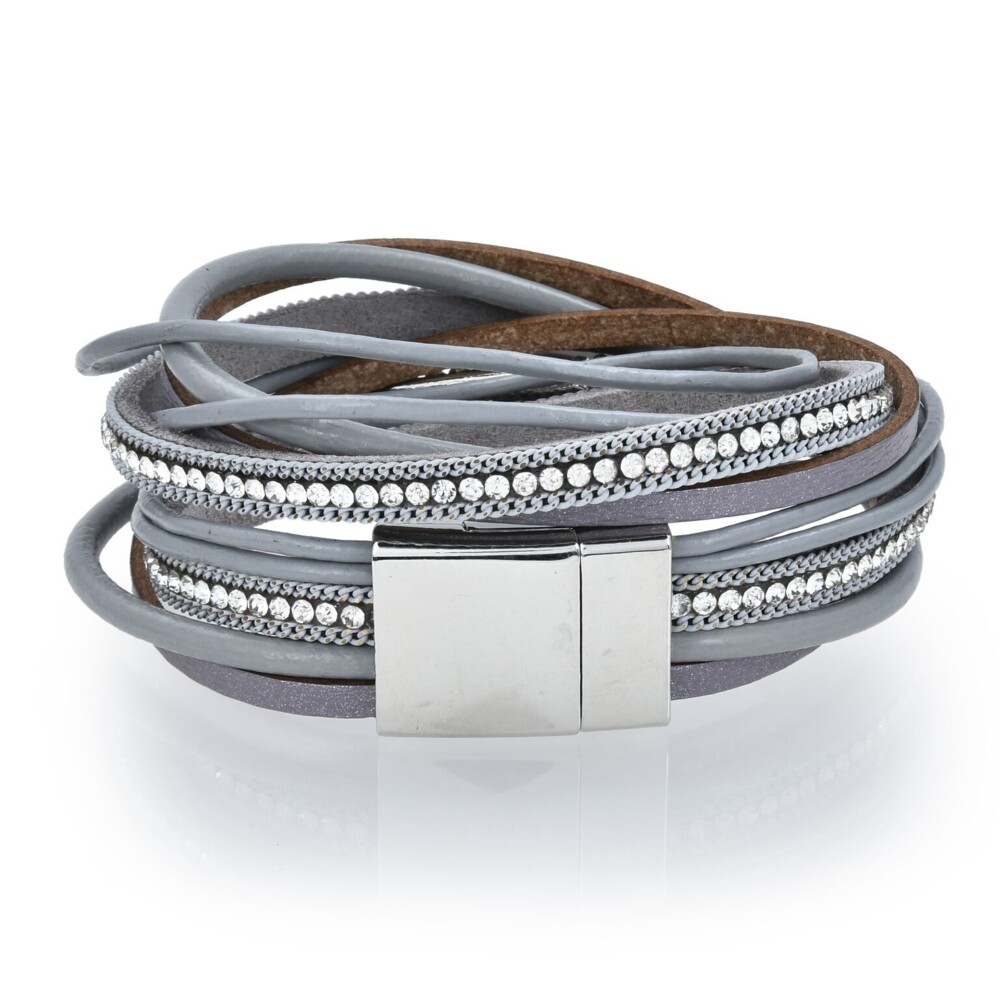 Gray Agate Coin Multi Wrap Bracelet Double