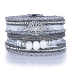 Closeup photo of Silver Gray Tree Of Life Multi Wrap Bracelet