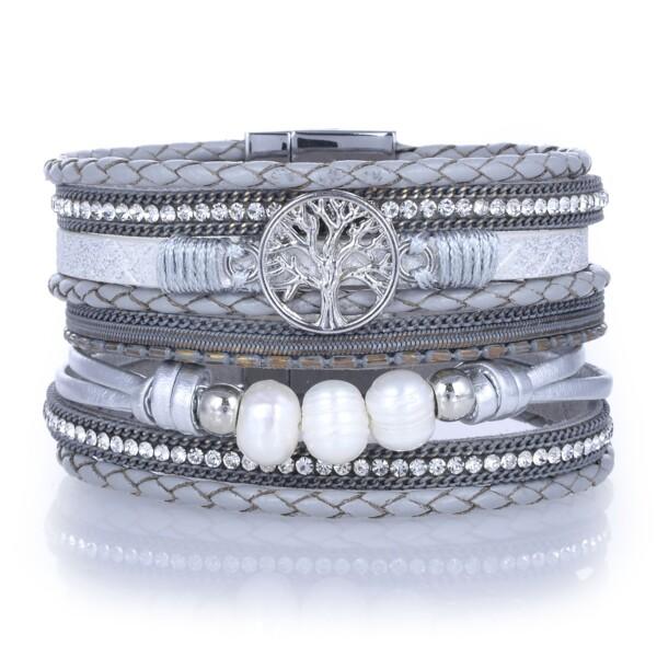 Closeup photo of Silver Gray Tree Of Life Multi Wrap Bracelet