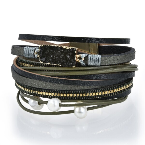Closeup photo of Olive Druze Multi Wrap Bracelet Double