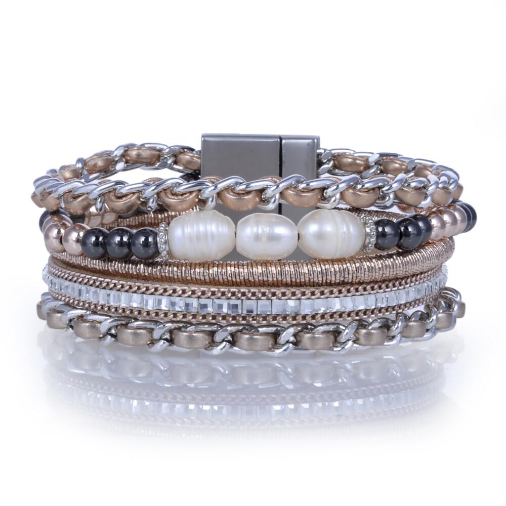 Image 2 for Rose Gold & Pearl Multi Wrap Bracelet
