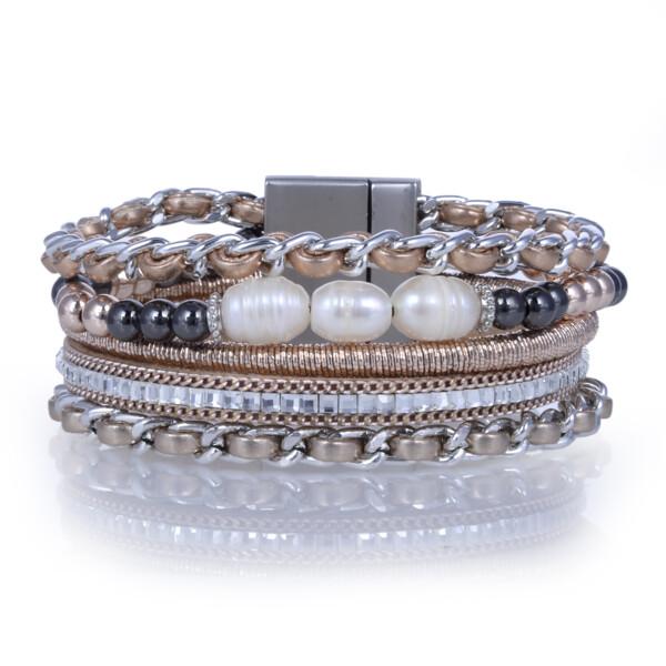 Closeup photo of Rose Gold & Pearl Multi Wrap Bracelet