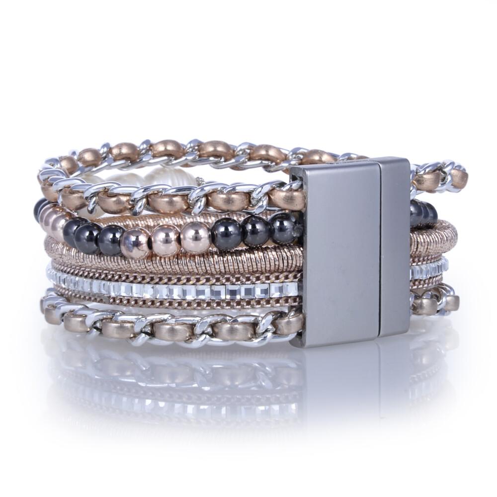 Rose Gold & Pearl Multi Wrap Bracelet