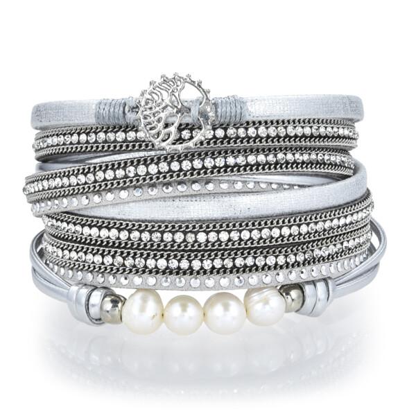 Closeup photo of Silver & Pearl Tree Of Life Multi Wrap Bracelet Double
