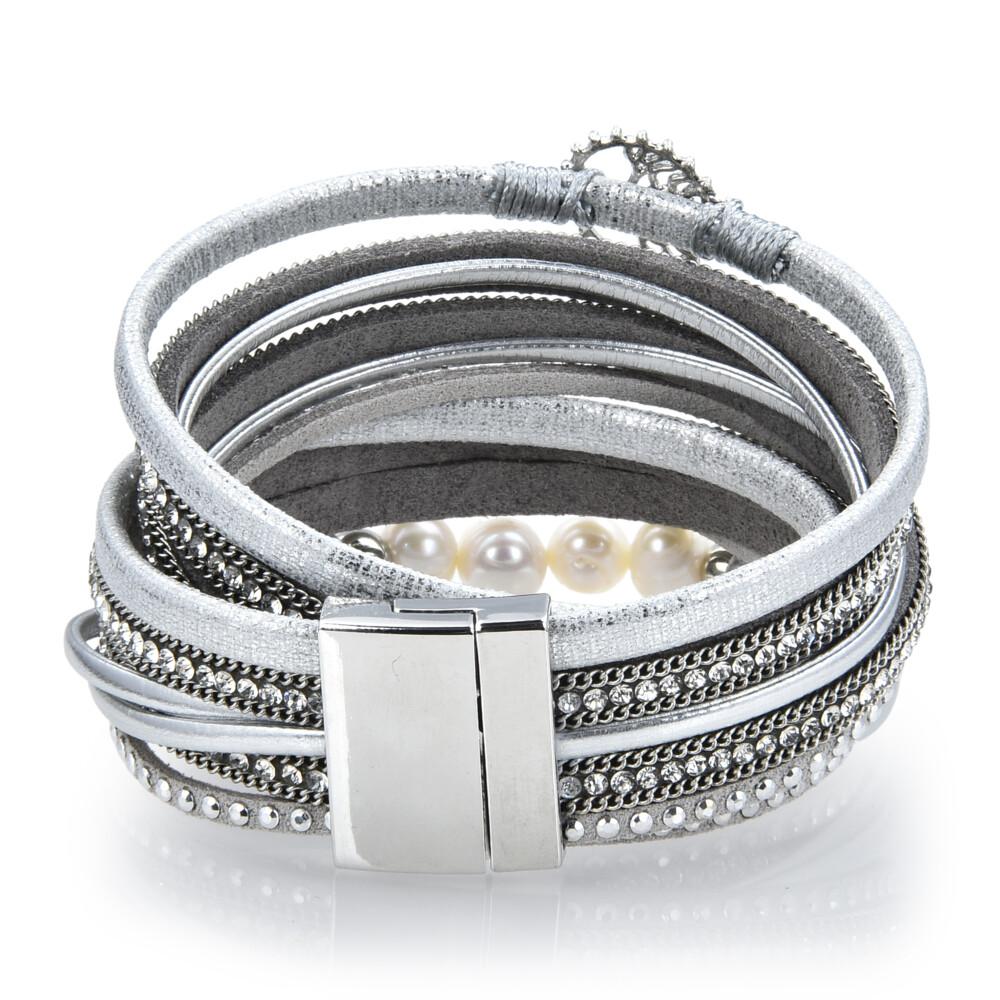 Silver & Pearl Tree Of Life Multi Wrap Bracelet Double