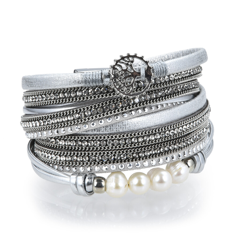 Image 2 for Silver & Pearl Tree Of Life Multi Wrap Bracelet Double