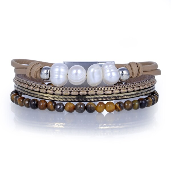 Closeup photo of Tigers Eye & Pearls Multi Wrap Bracelet