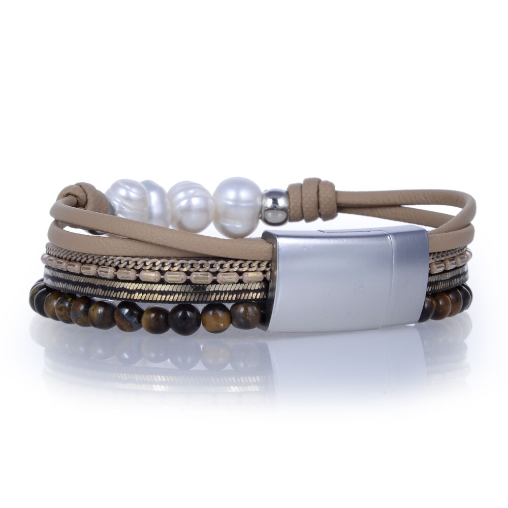 Image 2 for Tigers Eye & Pearls Multi Wrap Bracelet