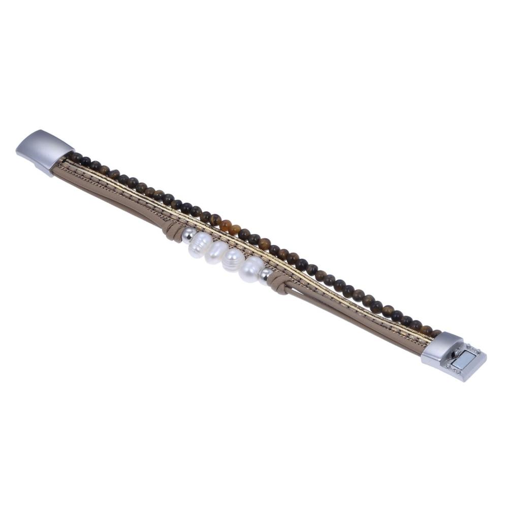 Tigers Eye & Pearls Multi Wrap Bracelet