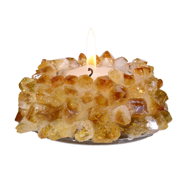 Closeup photo of Citrine Crystal Point Candle Holder
