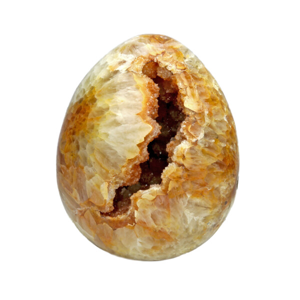 Closeup photo of Citrine Druze Egg With Carnelian Agate