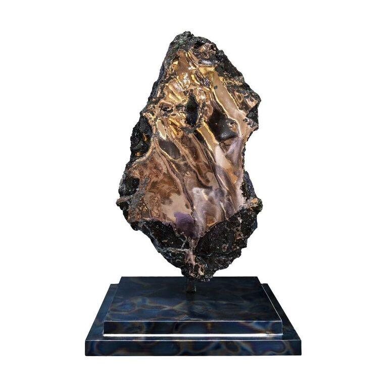 Extra Large Native Michigan Copper Vein Slab On Designer Stand