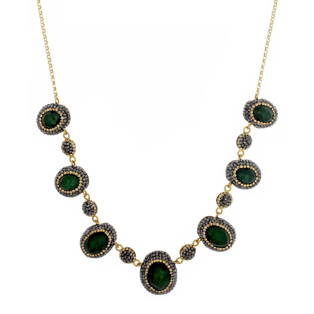 Emerald Necklace With Marcasite And Swarovski Crystals
