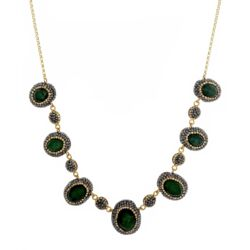 Closeup photo of Emerald Necklace With Marcasite And Swarovski Crystals