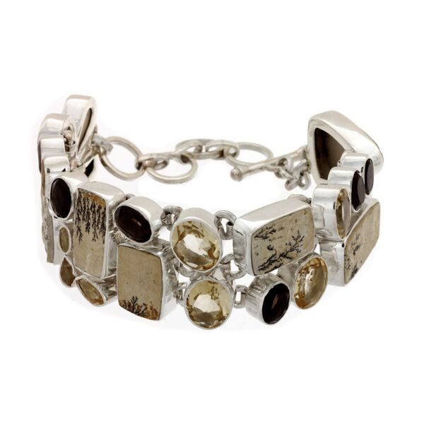Closeup photo of Dendritic Sandstone Bracelet With Citrine & Smoky Quartz