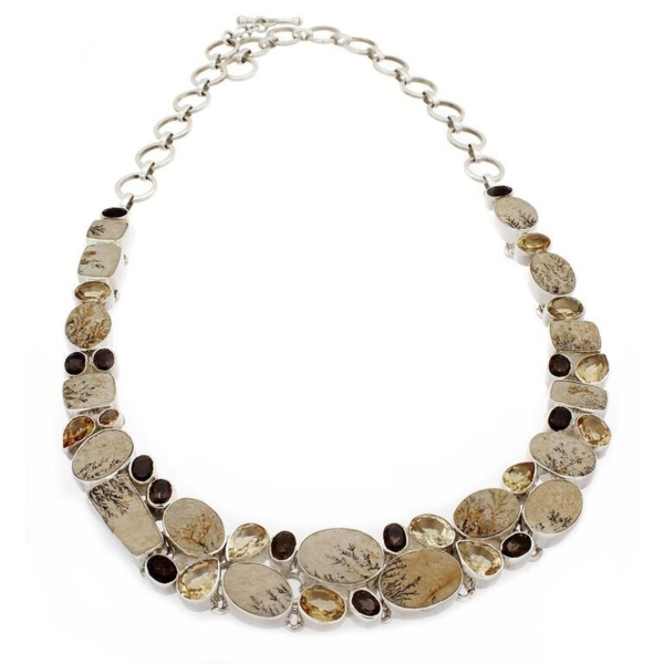 Closeup photo of Dendritic Sandstone Necklace Collar With Citrine & Smoky Quartz