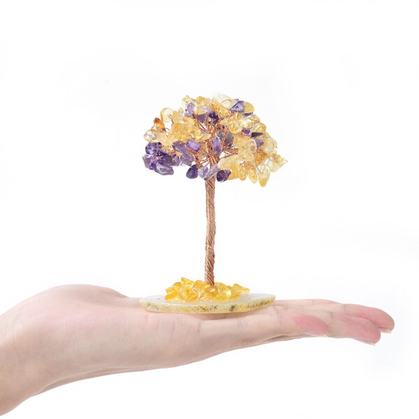 Closeup photo of Amethyst & Citrine Beaded Tree -Baby On Agate Slice Base