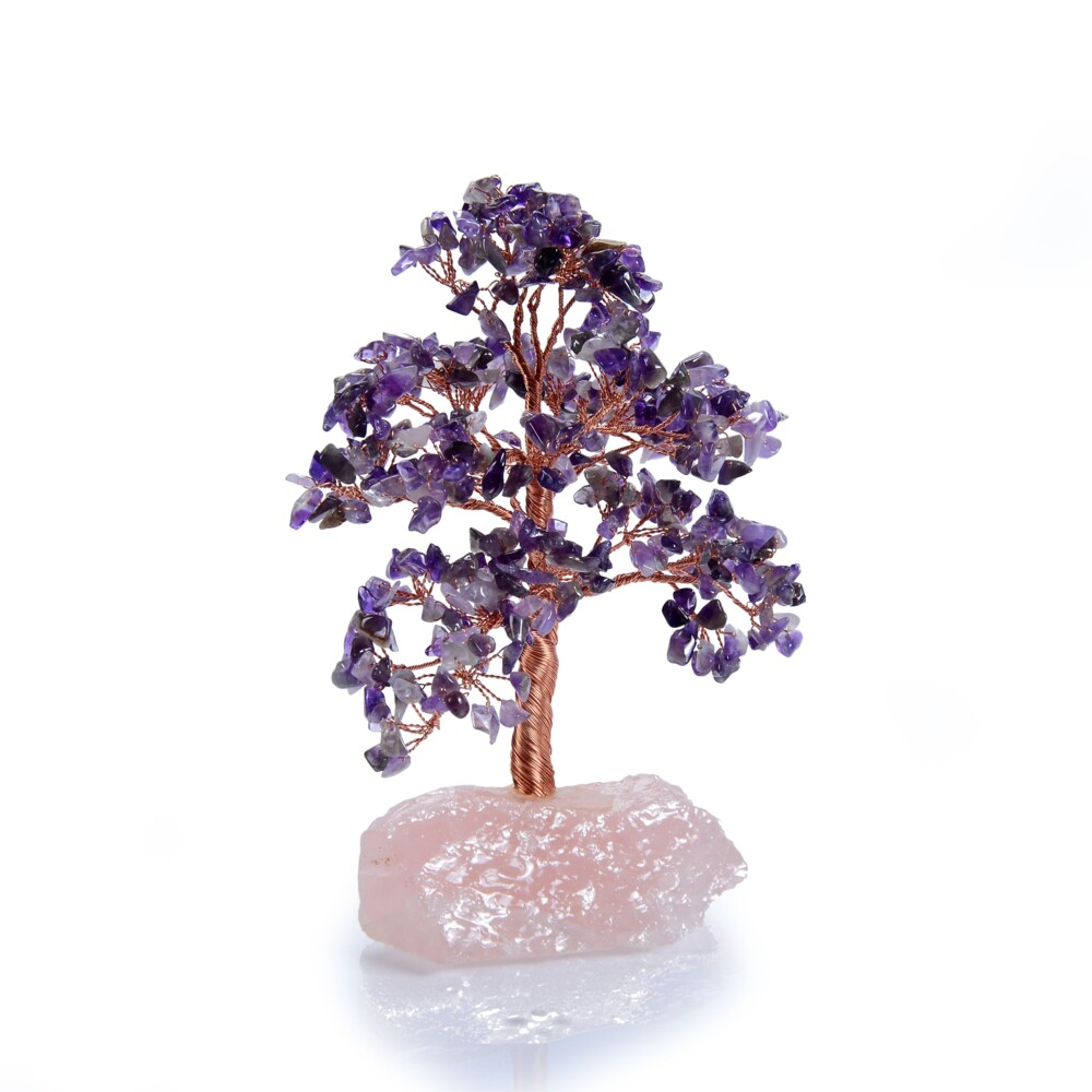 Image 2 for Amethyst Beaded Tree -Small On Rose Quartz Base