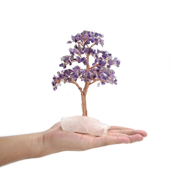 Closeup photo of Amethyst Beaded Tree -Small On Rose Quartz Base
