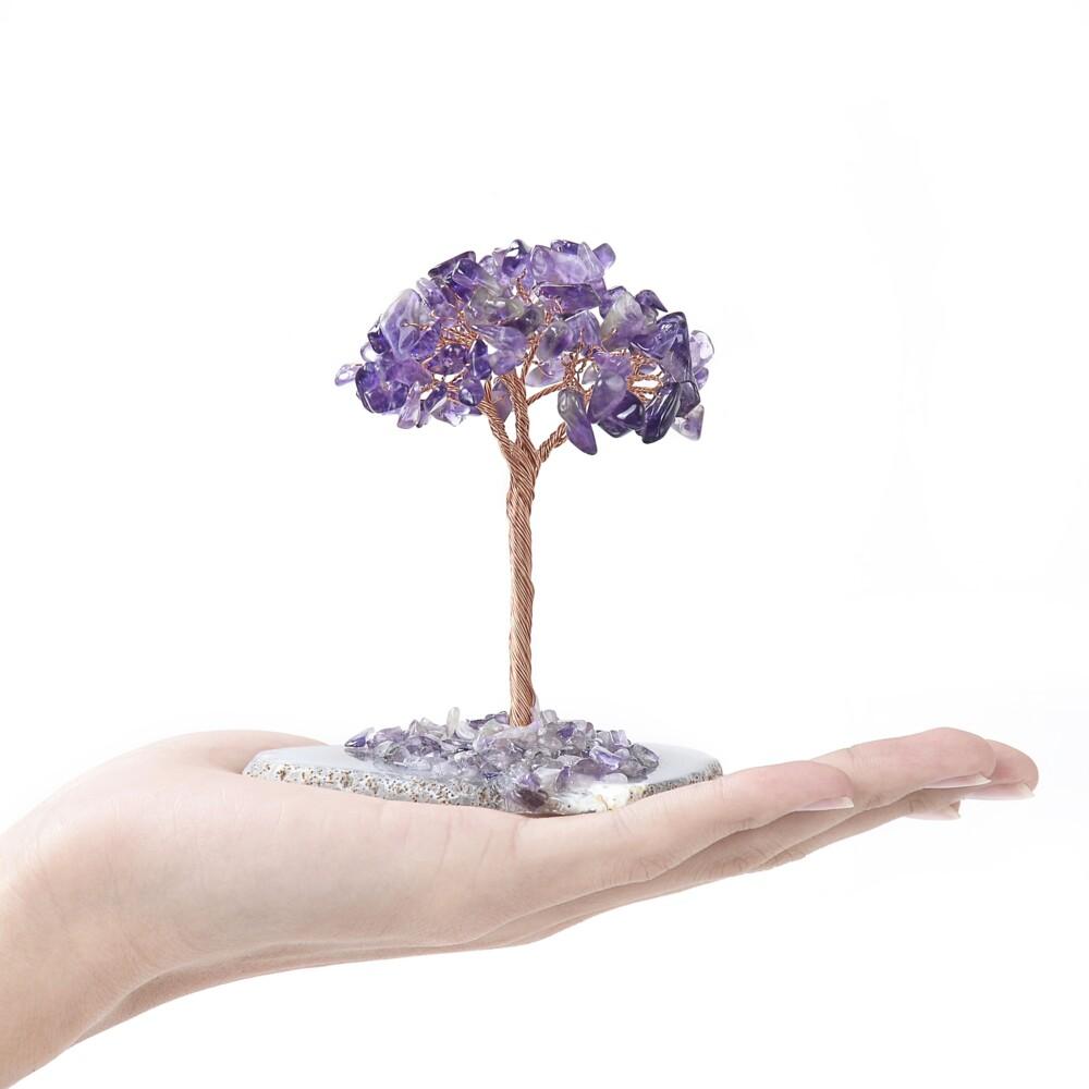Amethyst Beaded Tree -Baby On Agate Slice Base