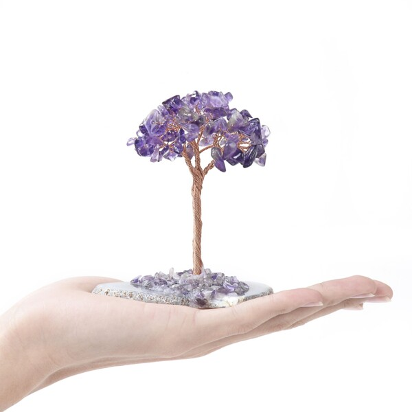 Closeup photo of Amethyst Beaded Tree -Baby On Agate Slice Base