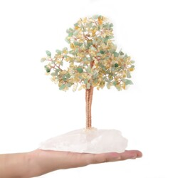 Closeup photo of Citrine & Aventurine Beaded Tree On Quartz Base