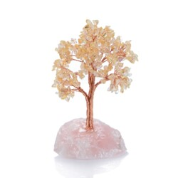 Closeup photo of Citrine Beaded Tree -Small On Rose Quartz Base