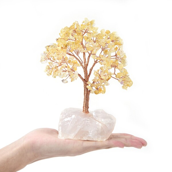 Closeup photo of Citrine Beaded Tree On Quartz Base