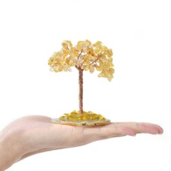 Closeup photo of Citrine Beaded Tree -Baby On Agate Slice Base