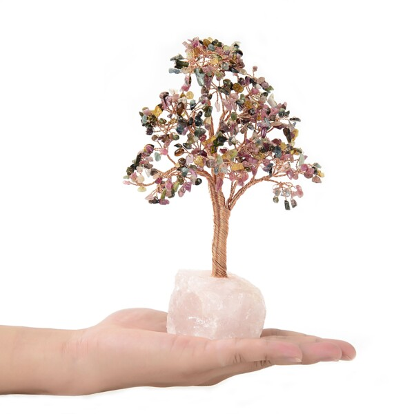 Closeup photo of Multi Tourmaline Beaded Tree -Small On Rose Quartz Base
