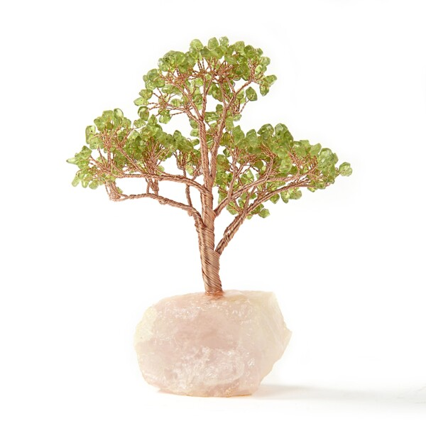 Closeup photo of Peridot Beaded Tree On Rose Quartz Base -Medium
