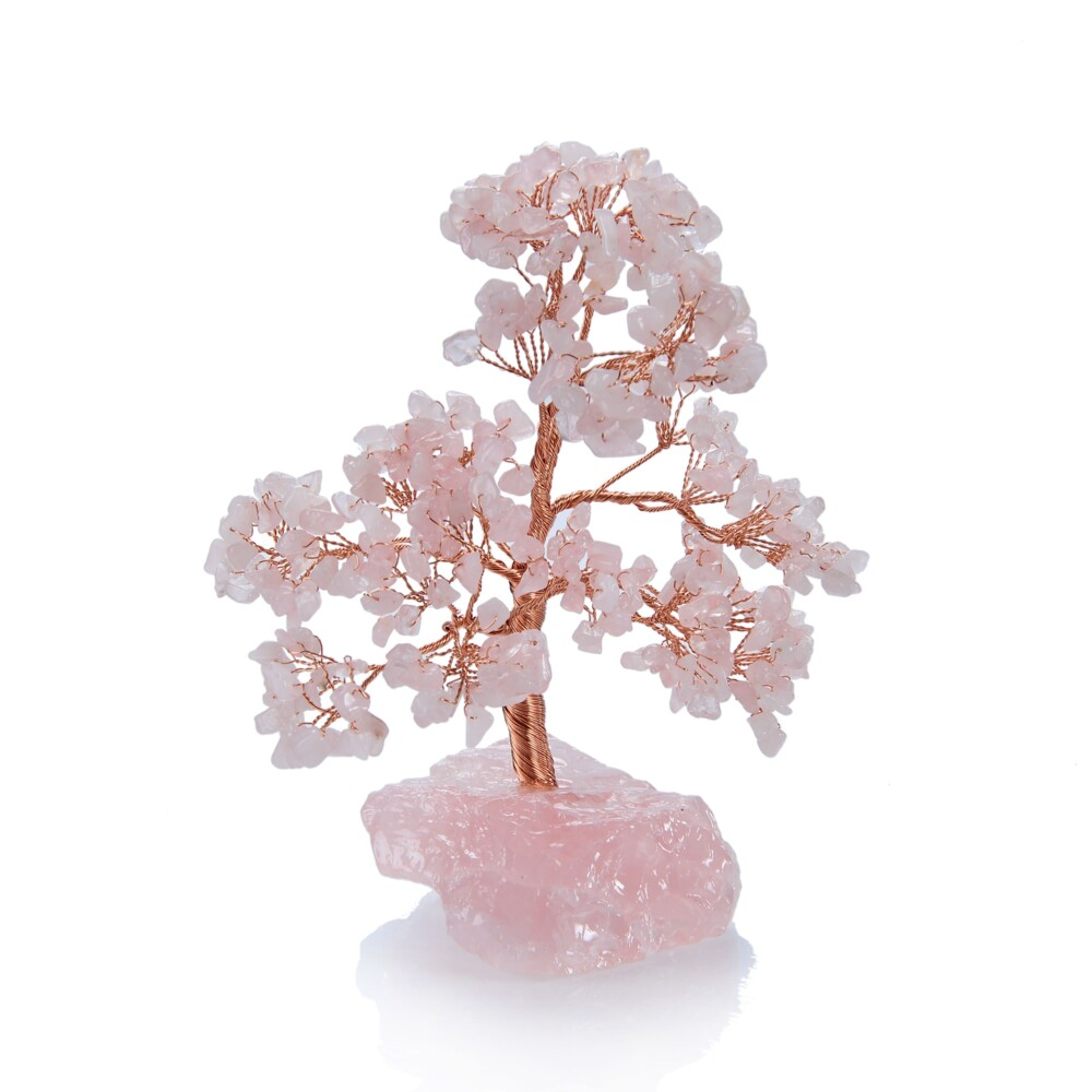 Rose Quartz Beaded Tree -Small On Rose Quartz Base