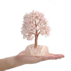 Closeup photo of Rose Quartz Beaded Tree -Small On Rose Quartz Base