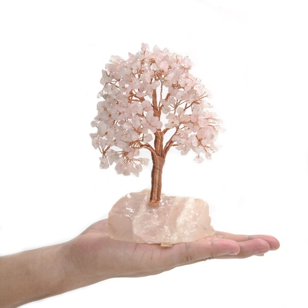 Closeup photo of Rose Quartz Beaded Tree -Small On Rose Quartz Base