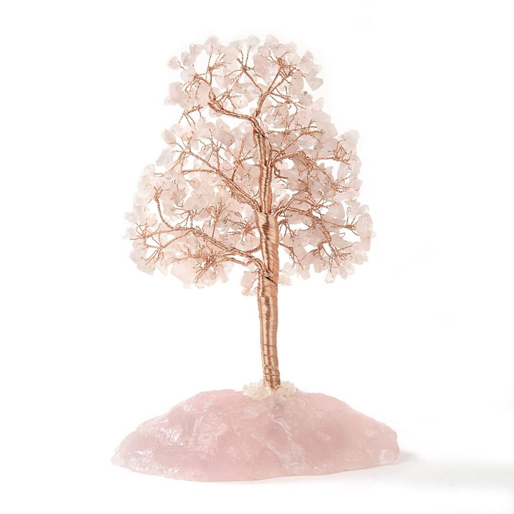 Rose Quartz Beaded Tree On Quartz Base