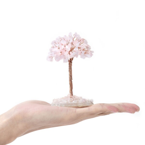 Closeup photo of Rose Quartz Beaded Tree -Baby On Agate Slice Base