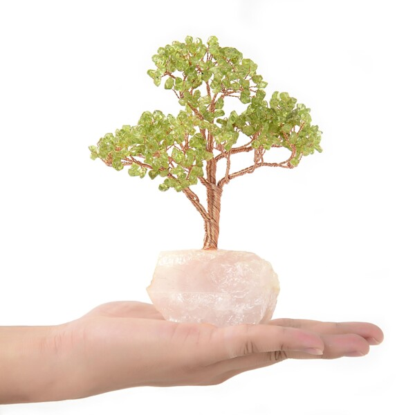 Closeup photo of Peridot Beaded Tree On Rose Quartz Base