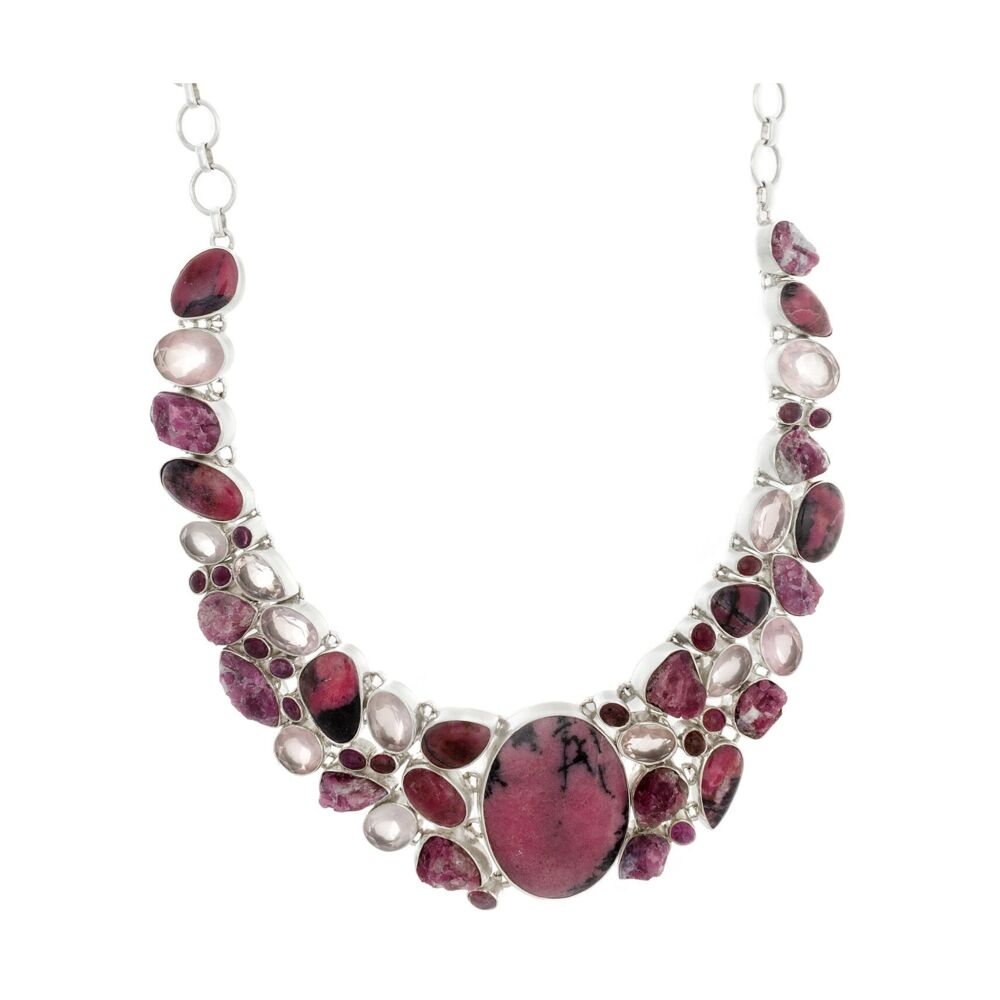 Rhodonite Necklace Collar With Faceted Rose Quartz And Natural Pink Tourmaline