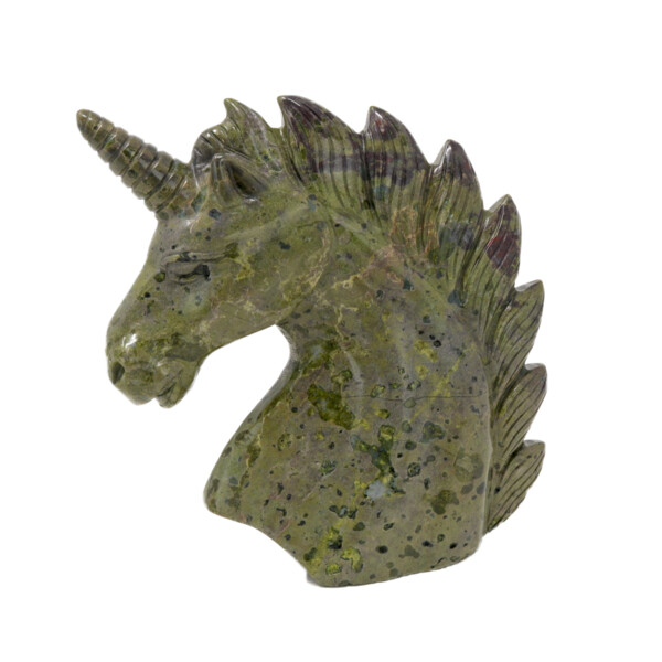 Closeup photo of Dragon Bloodstone Carved Unicorn