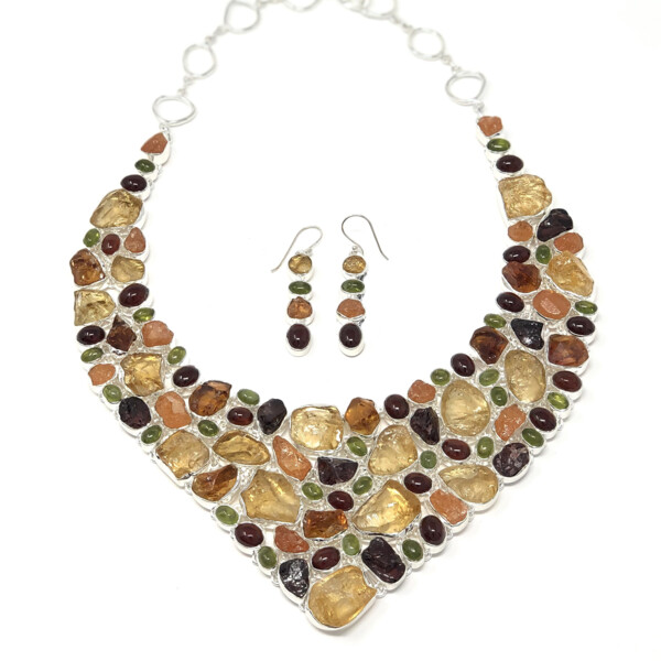 Closeup photo of Fall Colors Multi Gemstone Necklace And Earrings Set