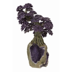 Closeup photo of Amethyst Gemstone Tree On Dark Amethyst Base