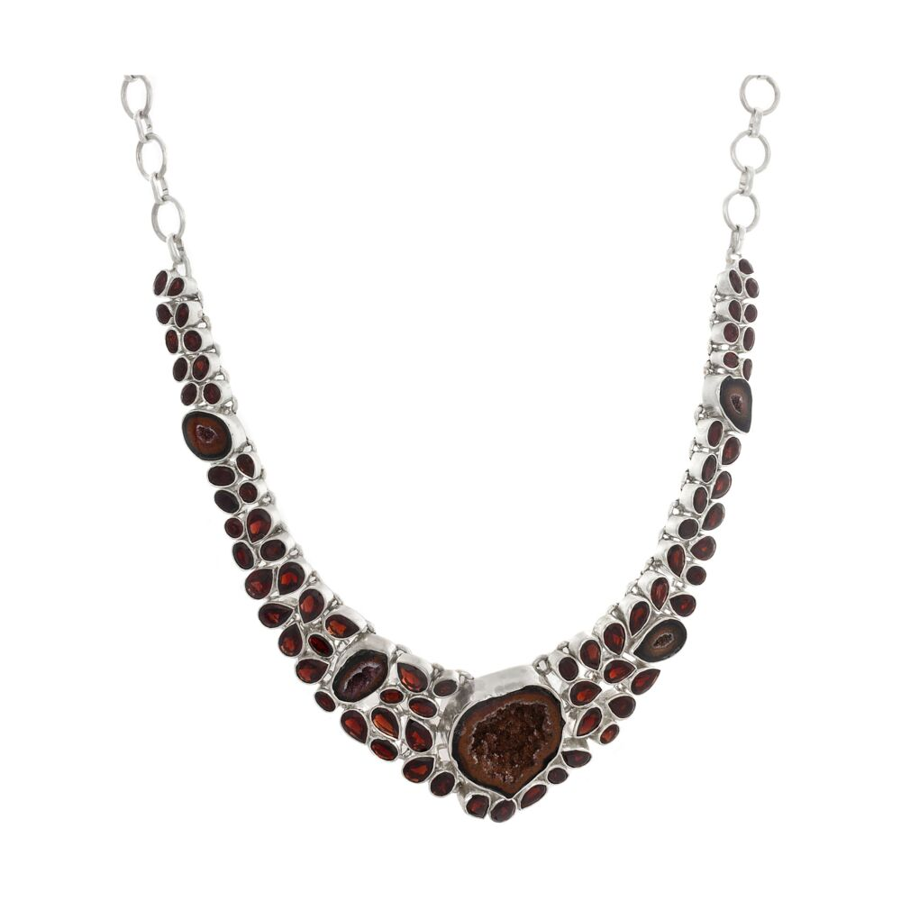 Red Druze Geode And Garnet Necklace
