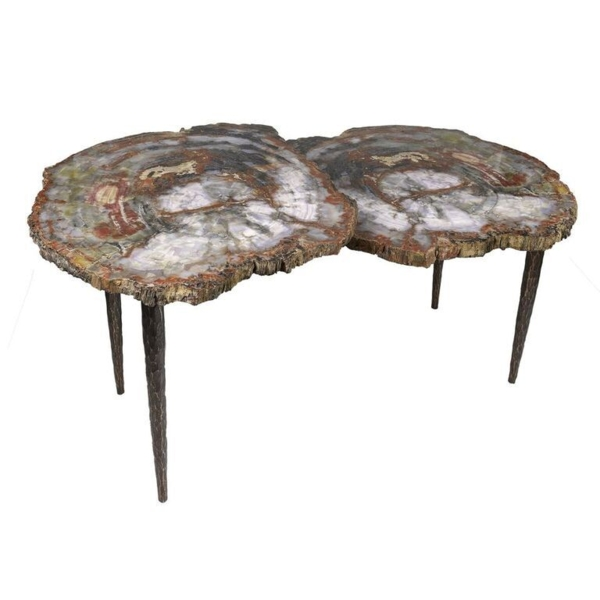 Closeup photo of Arizona Petrified Wood Duo Slice Table With Forged Base