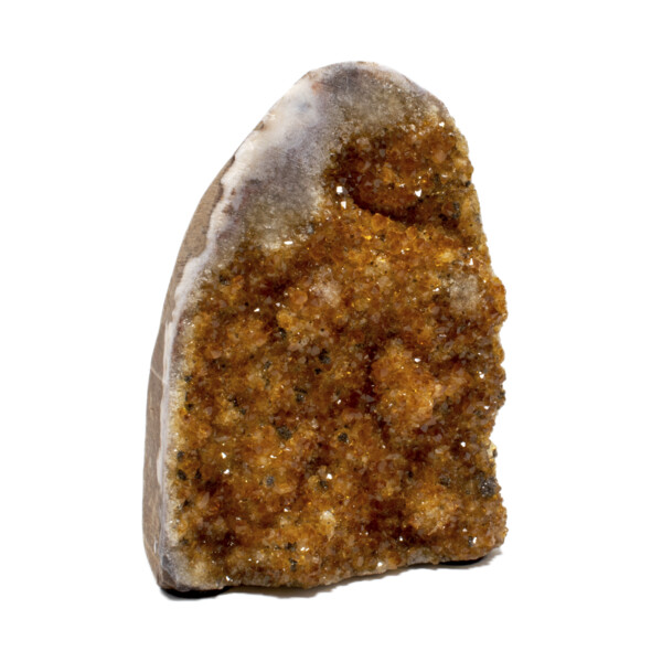 Closeup photo of Citrine Druze Cut Base With Black Druze