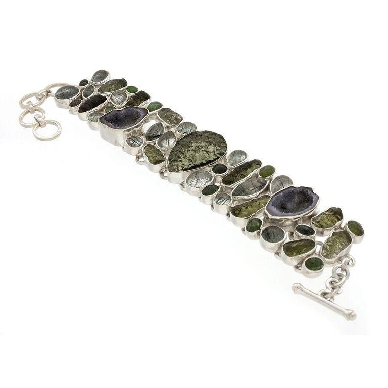 Moldavite Bracelet With Tourmaline, Tourmalated Quartz & Geodes