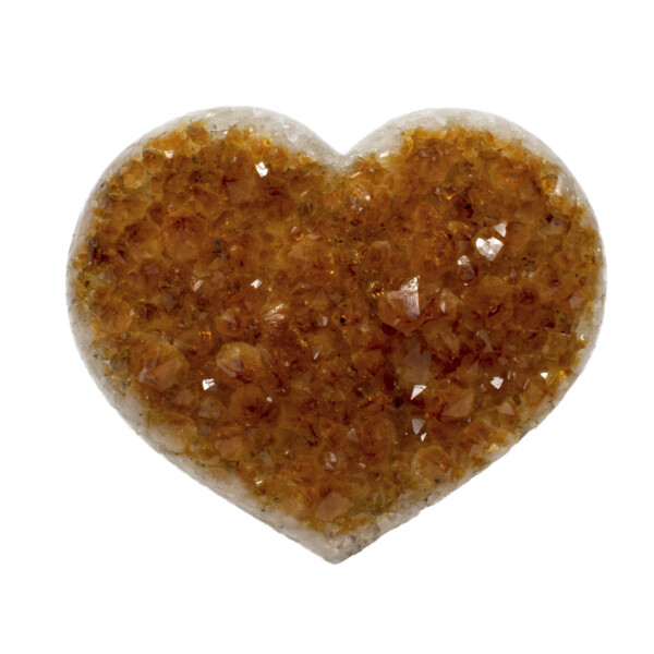 Closeup photo of Citrine Druze Heart
