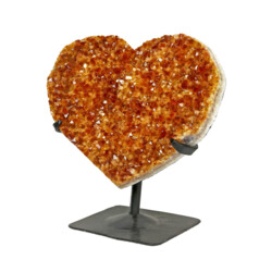 Closeup photo of Citrine Crystal Heart On Stand