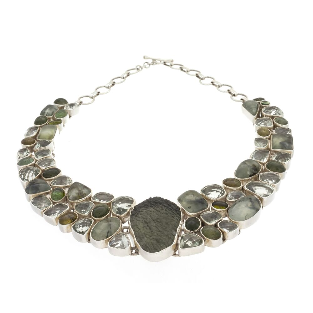 Moldavite Necklace Collar With Prehnite & Epidote, Prasiolite And Tourmaline