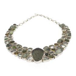 Closeup photo of Moldavite Necklace Collar With Prehnite & Epidote, Prasiolite And Tourmaline